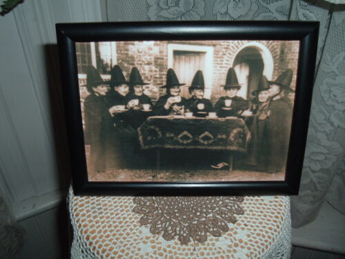 COVEN OF WITCHES AT TEA 5X7 FRAMED PICTURE HALLOWEEN SHELF SITTER GATHERING