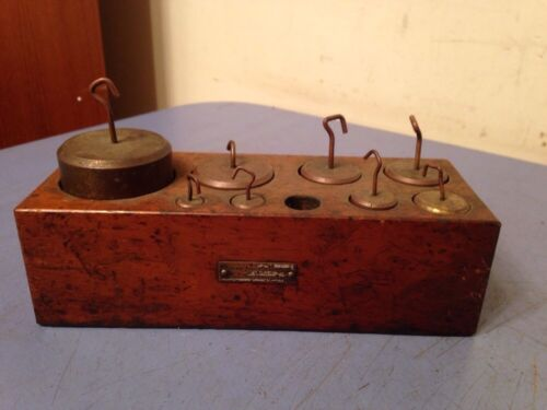 Antique Scale Weight Set In Wood Case Missing 1 Chicago Apparatus Co