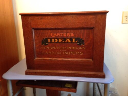 Antique Oak Country Store Display Cabinet Carters Ideal Typewriter Ribbons