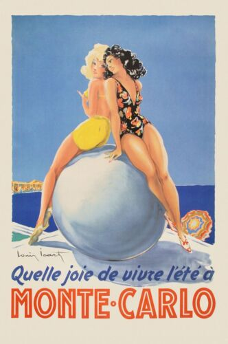 Monte Carlo by Vintage Poster Art Print Sexy French Woman Beach Travel 26x18