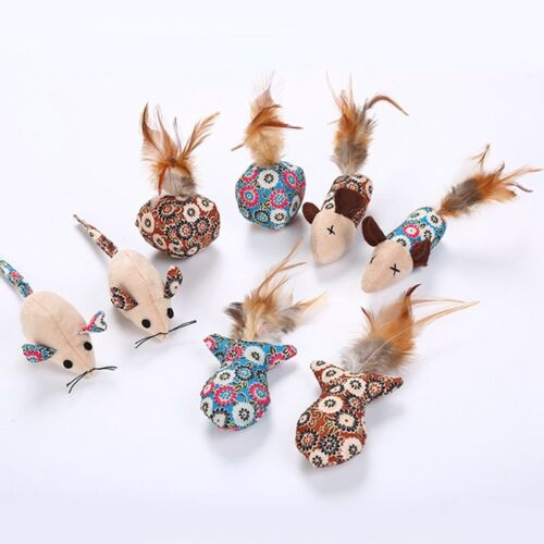 4pcs/lot Cat Toys Mouse Fish Ball Feather Toy Funny Pet Teaser Catnip Toy
