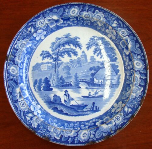 18th Century English Ceramic Chrager Tray Blue and White Transfer Ware ca 1780