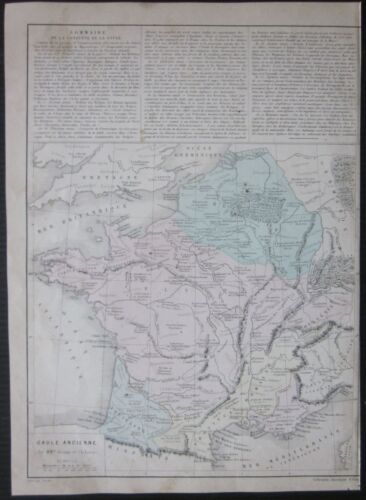 1867 GAULE ANCIENNE map Drioux Leroy Old France