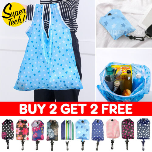 10 Colours Reusable Foldable Shopping Bags Eco Grocery Bag Storage Tote Handbags <br/> Buy 2 Get 2 Free✔ Add 4 to Cart✔ SYD Stock✔ 10 Colours