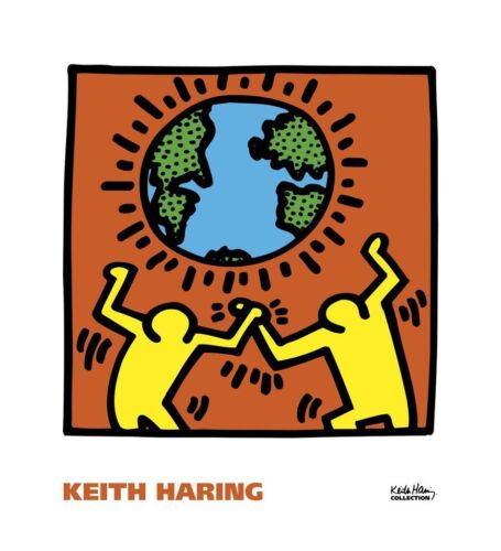 KH02 by Keith Haring Art Print Dancing Globe Pop Poster 22x20
