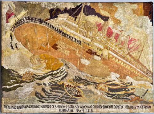 HUGE IMPORTANT 1915 ARMENIAN GENOCIDE EMBROIDERY LUSITANIA U-BOAT PAPAZIAN WWI
