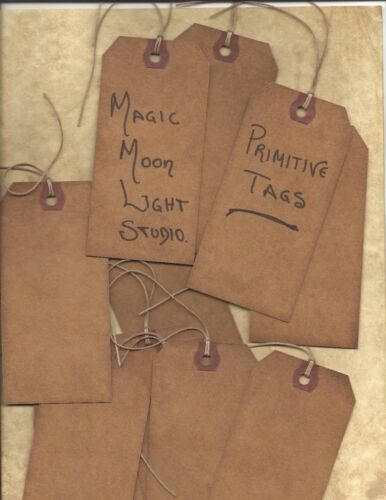 ~PRIMITIVE GRUNGY TAGS~100 LOT~BLANK~SCRAP BOOKING~BAKED