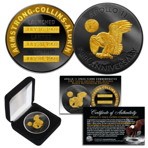 Apollo 11 50th Anniversary NASA Space 1 OZ  Robbins Medal 24K & BLACK RUTHENIUM <br/> The Official 50th Anniversary Coin - SPECIAL LOW PRICE!