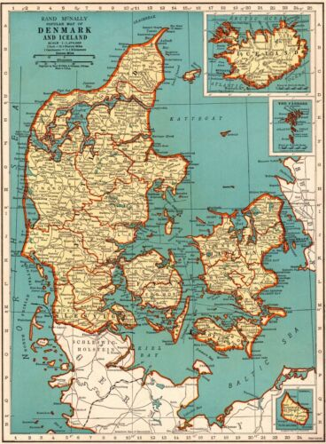 1939 Vintage DENMARK Map Collectible Map of ICELAND Map Gallery Wall Art 5877