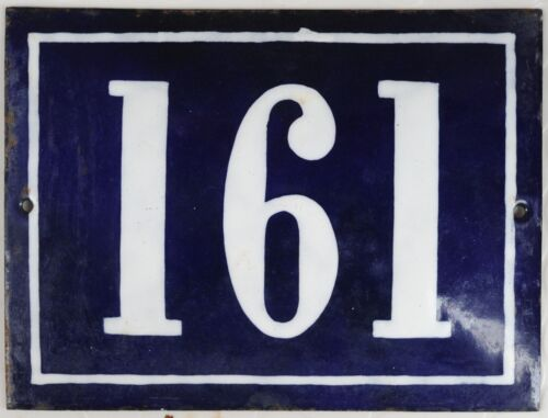 Large old French house number 161 door gate plate plaque enamel steel metal sign