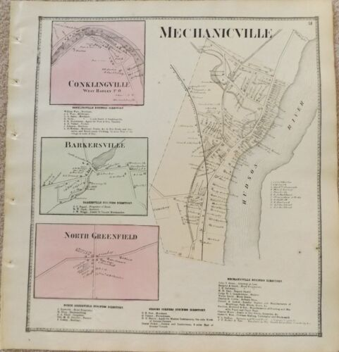 1866 NY Mechanicville Conklingville Barkdersville Saratoga Co Map frm Atlas
