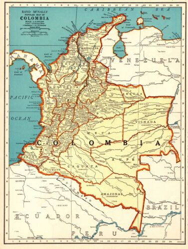 1940 Antique Map of COLOMBIA Map South America Map Gallery Wall Art #6175