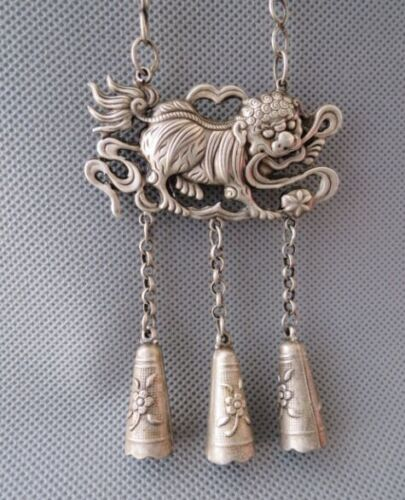 Old Chinese Sterling Silver Carved lion Shape Amulet Pendant 18th