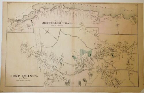 Original 1876 Map West Quincy Franklin Medfield Cohasset Old Mass Ma Old Atlas