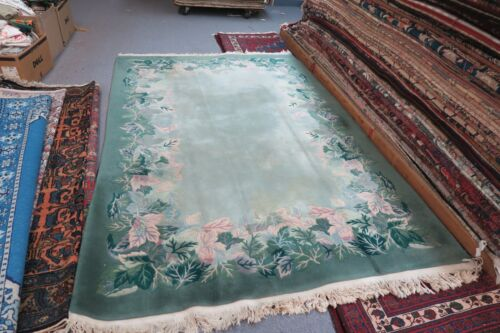 Vintage Green Art Deco Leaf Design Chinese Rug 6' x 9' Hand Knotted Wool