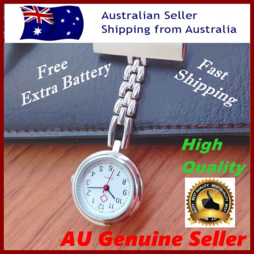 fob nursing metal pendant pocket brooch nurse watch with extra battery  battery
