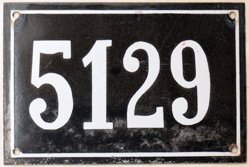 Large old black French house number 5129 door wall gate plate enamel metal sign