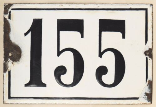 Large old black white French house number 155 door gate plate enamel metal sign