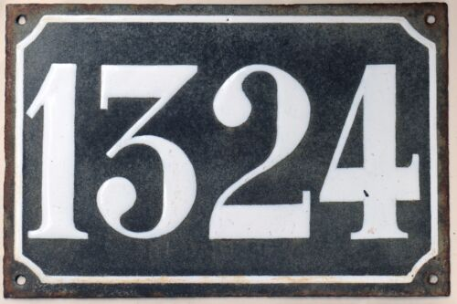 Large old black French house number 1324 door gate wall plate enamel metal sign