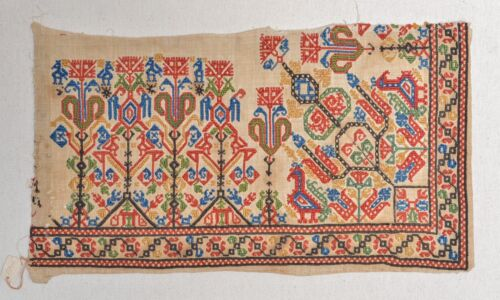 SUPERB 16TH CENTURY ANTIQUE OTTOMAN GREEK ISLANDS EMBROIDERY FRAGMENT COLORS!