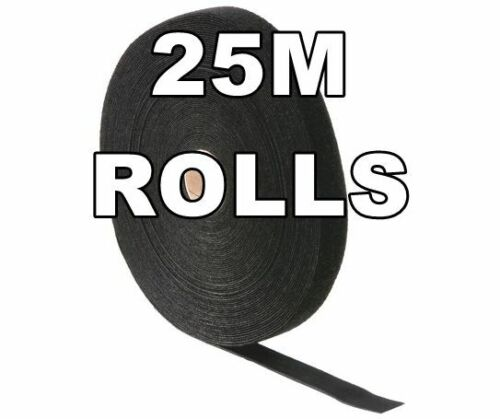 25m Roll Strong Nylon Sewing Material Fastening Adhesive 12mm Wide Black Strap