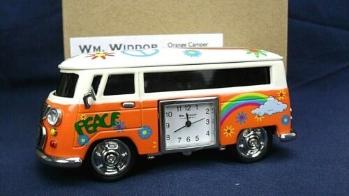Orange psychedelic VW CAMPER Widdop miniature clock BNWB