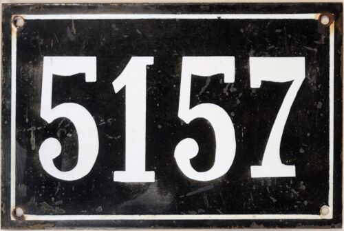 Large old black French house number 5157 door gate wall plate enamel metal sign