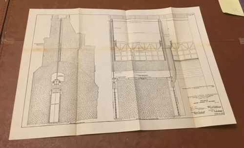 1910 Panama Canal Sketch Diagram Showing Spillways & Assembly of Machinery