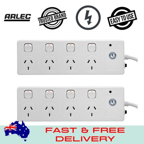 Arlec White 4 Outlet Surge Protected Powerboard - 2 Pack