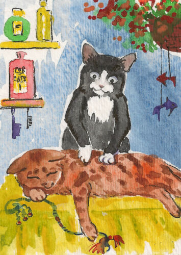 ACEO FOLK ART PRINT OF PAINTING RYTA BENGAL TUXEDO CAT WATERCOLOR WHIMSICAL SPA