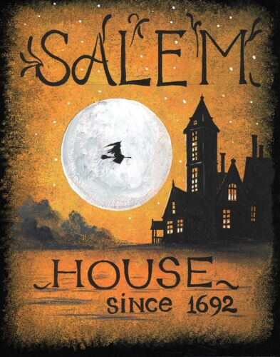 11x14 PRINT OF PAINTING RYTA HALLOWEEN SALEM WITCH SIGN HAUNTED HOUSE POSTER ART