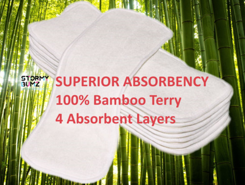 SALE  5 x 100% Bamboo Booster inserts Baby Nappies Ultra absorbent and compact
