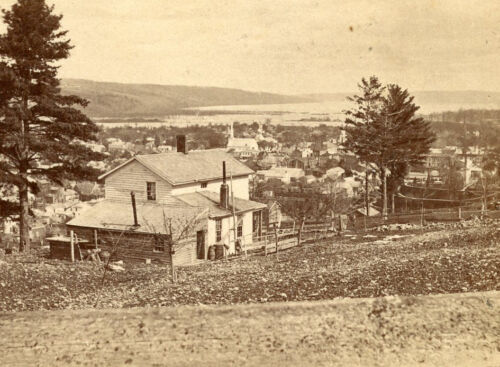 NEW YORK STATE SCENERY STEREOVIEW ITHACA AND CAYUGA LAKE MANY BUILDINGS IN SCENE