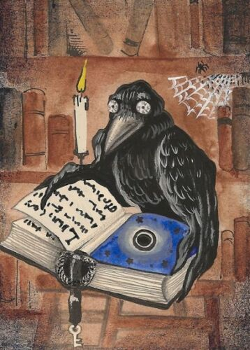 ACEO RAVEN CROW RYTA PRINT OF PAINTING BOOK WICCA BOOK Clock STEAMPUNK MAGIC ART