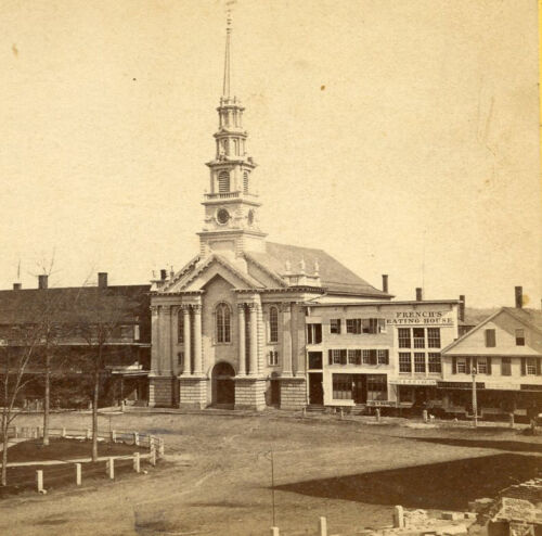 CONGREGATIONAL CHURCH  CENTRAL SQUARE KEENE NH STEREOVIEW by FRENCH & SAWYER