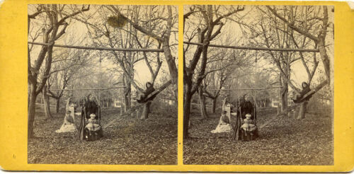 MOTHER CHILDREN SWING SET KEENE NEW HAMPSHIRE STEREOVIEW by FRENCH & SAWYER NH