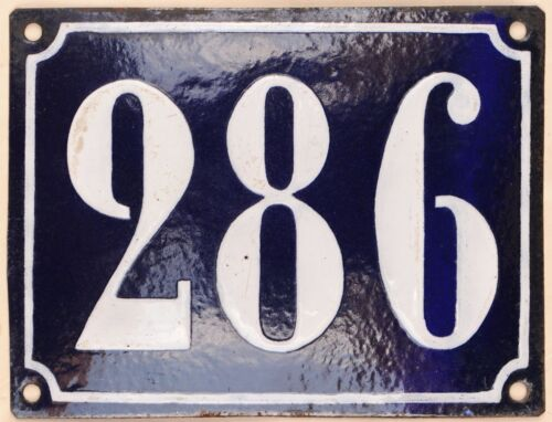 Large old French house number 286 door gate plate plaque enamel steel metal sign