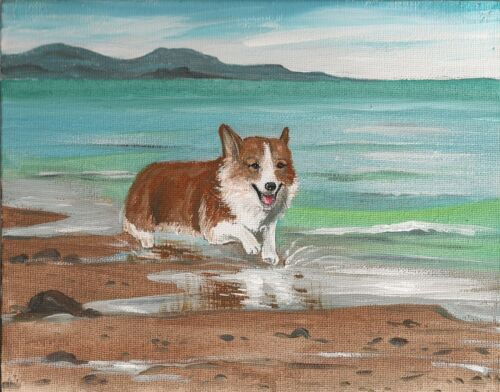11x14 PRINT OF PAINTING BEACH RYTA PEMBROKE WELSH CORGI SEASCAPE NAUTICAL ART