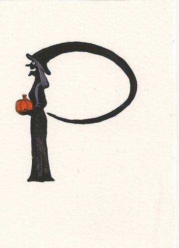 HALLOWEEN ALPHABET LETTER P ACEO RYTA CALLIGRAPHY ART PRINT OF PAINTING