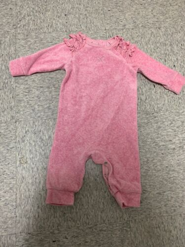fox & finch pink velour baby girls one piece suit sz 00 bnwot (gc4)