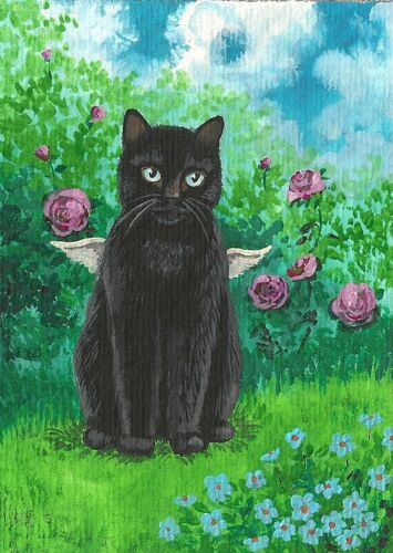 PRINT OF ACEO PAINTING BLACK CAT ANGEL FAIRY ROSE FOLK GARDEN SPRING RYTA FLOWER