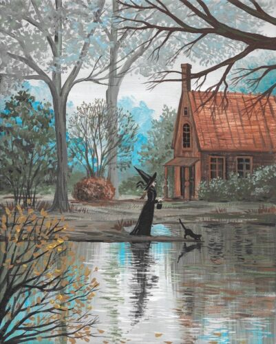 8X10 print of PAINTING HALLOWEEN RYTA BLACK CAT WITCH GOTHIC LANDSCAPE HAUNTED