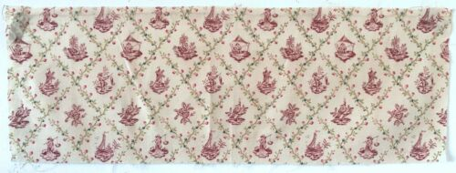 Charming Early 20th C. French Cotton Conversational Printed Fabric   (2623)
