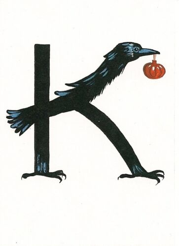 HALLOWEEN ALPHABET LETTER K ACEO RYTA CALLIGRAPHY ART PRINT OF PAINTING