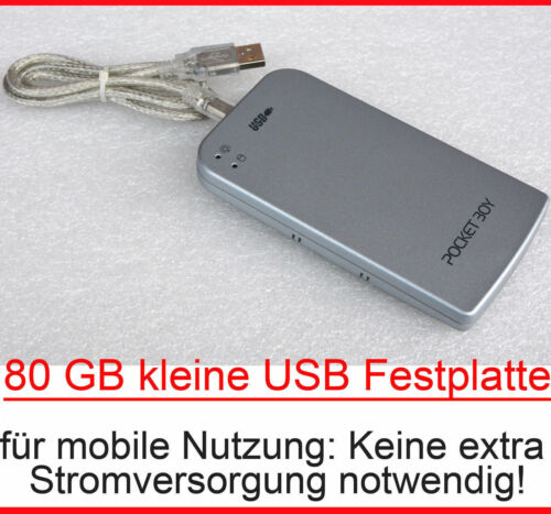 "80 GB Small Mobile External Ide USB Hard Drive Disc 6,35 CM 2,5 "" Power USB #"