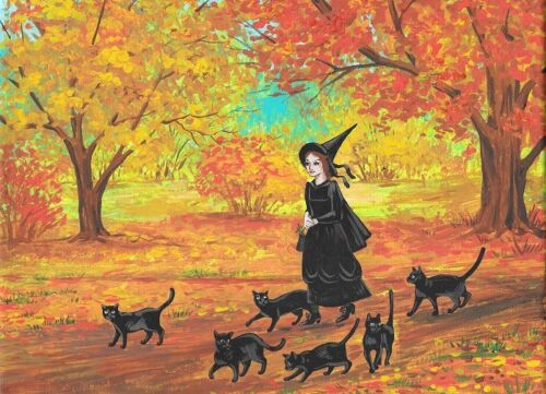 ACEO PRINT OF PAINTING RYTA HALLOWEEN WITCH BLACK CAT VINTAGE STYLE Salem Art 🦇