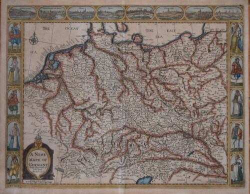 A NEWE MAPE OF GERMANY BY JOHN SPEED, ROGER REA EDITION CIRCA 1650..