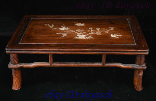 """21"""" Chinese Huanghuali Wood Inlay shell Bird flowers Furniture table Desk Tables"""