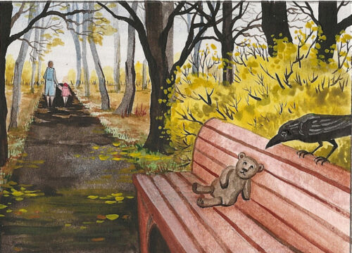 PRINT OF ACEO PAINTING RYTA RAVEN CROW TEDDY BEAR ALLEY ILLUSTRATION HALLOWEEN