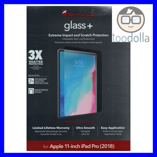 """ZAGG InvisibleSHIELD Glass+, Tempered Glass Screen Protection for iPad Pro 11"""""""